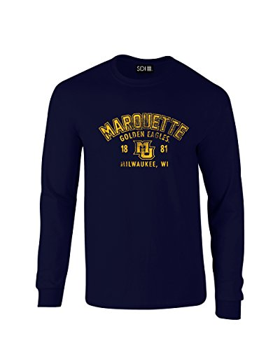 NCAA Marquette Golden Eagles Arch 100% Pre Shrunk Long Sleeve Tee, X-Large, Navy