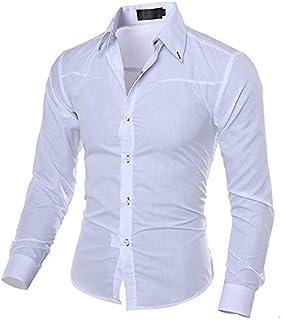 IYFBXl Camicia Slim da Uomo Street Street Chic - Tinta Unita