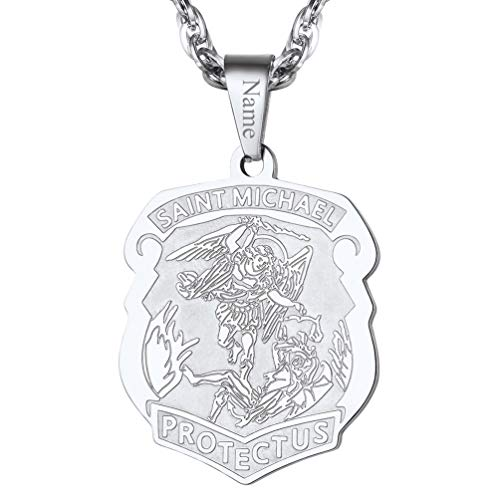 PROSTEEL Saint Michael The Archangel Personalized Custom Name Necklace Stainless Steel St Michael Pendant Catholic Religious Gift Men Jewelry]()