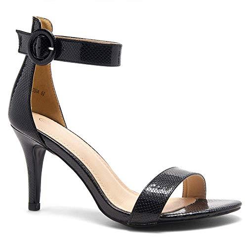 Herstyle Ambrosia Women's Open Toe High Heels Dress Wedding Party Elegant Heeled Sandals BLKSNK 8.0