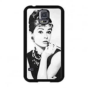 Famous Actress Audrey Hepburn Caja del teléfono celular Fundas Black and White Style Cover Personal Design Samsung Galaxy S5 Cell Phone Caja del teléfono celular Funda