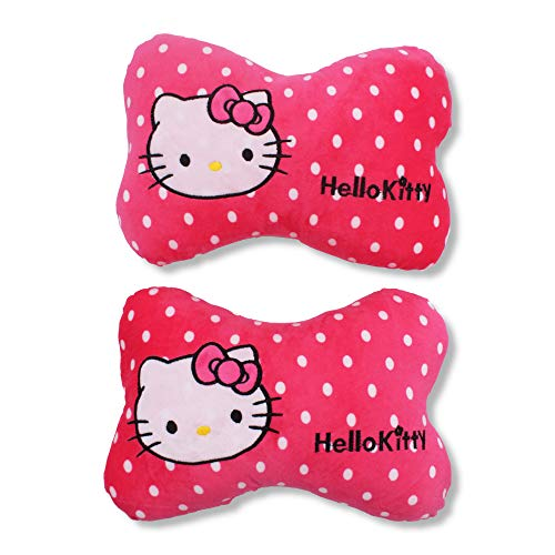 Finex Set of 2 Hello Kitty Bone Head Neck Rest Pillow Cushion for Car Pink & White Polka Dot -