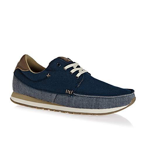 Sanuk Mens Beer Runner Sneaker Navy/Tan Size 9 ()