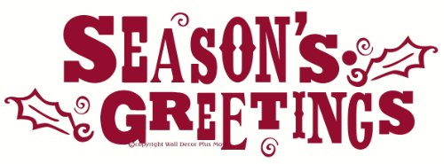 (Wall Decor Plus More WDPM2315 Season's Greetings Wall or Door Sticker with Holly Leaf Vinyl Decal, 23W x 8H, Red, 1-Pack)