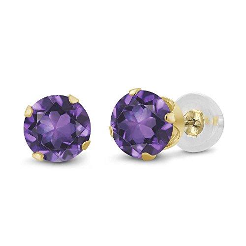 Gem Stone King 14K Yellow Gold Purple Amethyst Gemstone Birthstone Stud Earrings (0.90 Cttw, Round 5MM)