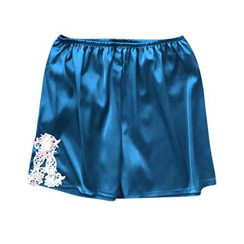 Women's Boxer Shorts Pajama Bottoms Solid Boxer Shorts Lace Hem Pajamas Shorts Sexy Plus Size Stain Sleep Shorts Blue (Womens Lace Boxer Shorts)