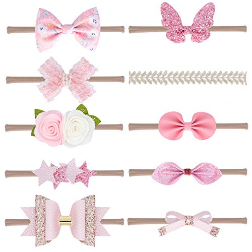 Baby Girl Nylon Headbands Newborn Infant Toddler Hairbands and Bows Child Hair Accessories (Pink-10pcs)