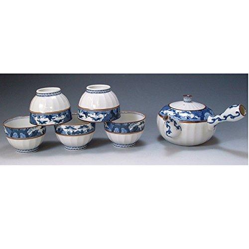Kiyomizu-kyo yaki ware. Set of Japanese yunomi teacup and kyusu teapot obisansui with wooden box. Porcelain. kymz-JIB136