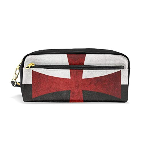 - Pencil Pen Case Bag Black and White Flag with Red Iron Cross Pouch Holder for High Student Office Women Large Makeup Travel for Highlighters with Handy Pencil Box Desk