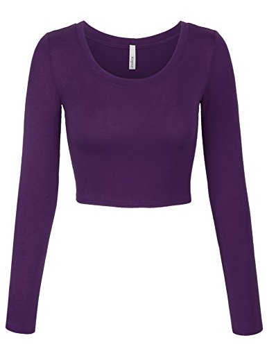 KOGMO Womens Long Sleeve Basic Crop Top Round Neck with Stretch -S-Purple