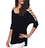iGENJUN Women's Casual Loose Hollowed Out Shoulder Three Quarter Sleeve Shirts