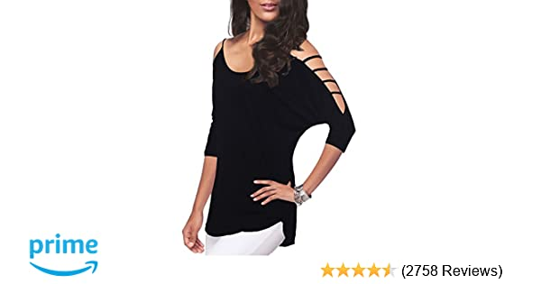 0e191b2a06cf3 Women's Casual Loose Hollowed Out Shoulder Three Quarter Sleeve Shirts at  Amazon Women's Clothing store: