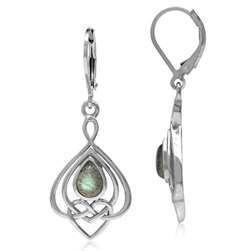 Labradorite 925 Sterling Silver Celtic Heart Knot Drop Dangle Leverback Earrings (Heart Labradorite Earrings)