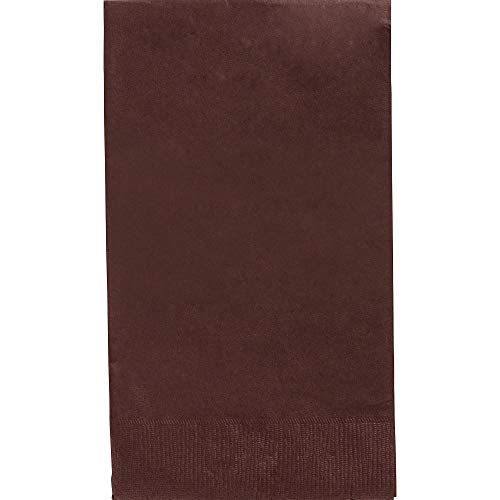 Amscan 63215.111 Big Party Pack 2‑Ply Guest Towels, Chocolate Brown Paper Napkins, 40 Pieces,