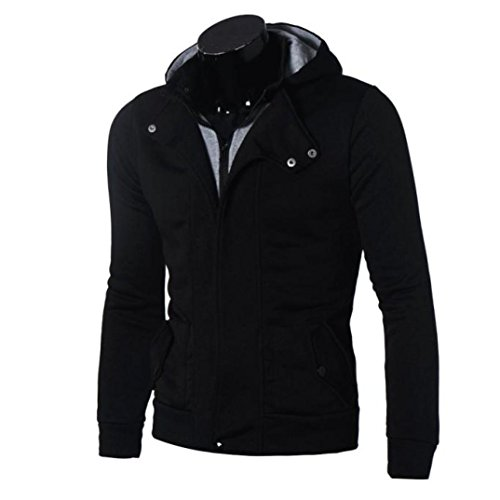 Men's Coat,Leegor Casual Warm Hooded Zipper Sweatshirt Cotton Jacket Coat Outwear (2XL, Black)