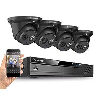 Amcrest 4K Security Camera System w/ 4K 8CH PoE NVR, (4) x 4K (8-Megapixel) IP67 Weatherproof Metal Turret Dome POE IP Cameras (3840x2160), 2.8mm Wide Angle Lens, NV4108E-IP8M-T2499EB4 (Black)