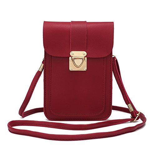 WOZEAH Crossbody Purse And Handbags Mini Cellphone Pouch Wallet Bag (red2)