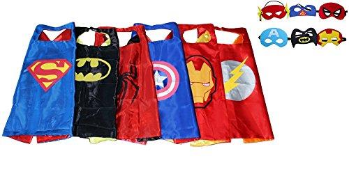 [Kiddo Care- 6 Superhero costumes for kids, Capes, Felt Masks, Satin, Superhero Party Supplies for boys,Double sided layer,velcro (6 sets-Batman, Superman, Spiderman, Ironman, Captain America &] (Hero Costumes For Men)