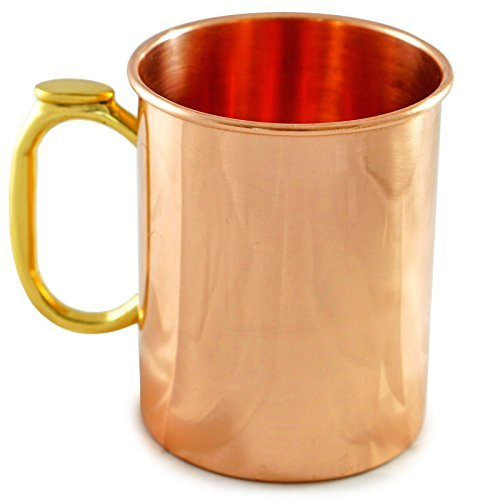 Copper Mug for Moscow Mules - 16oz Barware Cup. Best for Cocktails & Beer. Last Minute Birthday Gifts