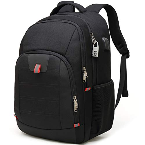 Travel Laptop Backpack,Extra Large Anti Theft College School Backpack for Men and Women with USB Charging Port,Water Resistant Big Business Computer Backpack Bag Fit 17 Inch Laptop and Notebook,Black (Best Notebook Computer For College)
