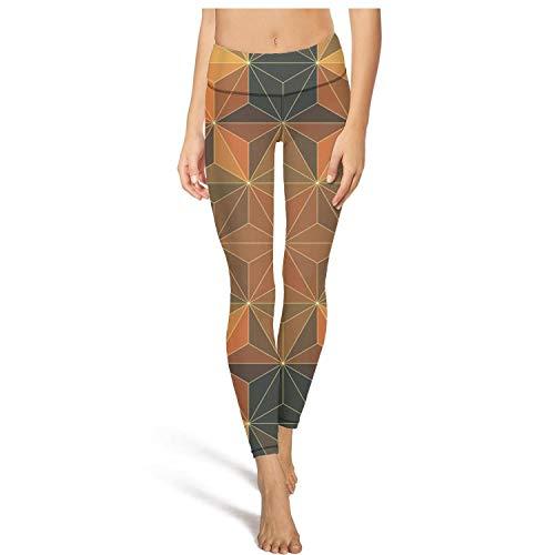 CCBING Women's Dimetric Foursquare Printed High Waist Tummy Control Yoga Pants