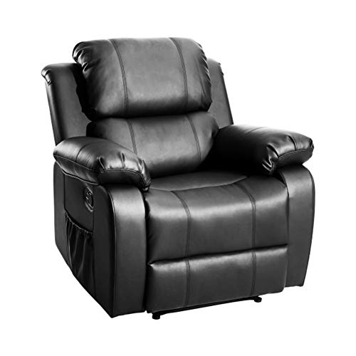 YXHUI Massage Chair, Heated Massage Recliner Sofa, Ergonomic Lounge with 8 Vibration Motors, (Black) Good Mood, Good Life (Color : Black)