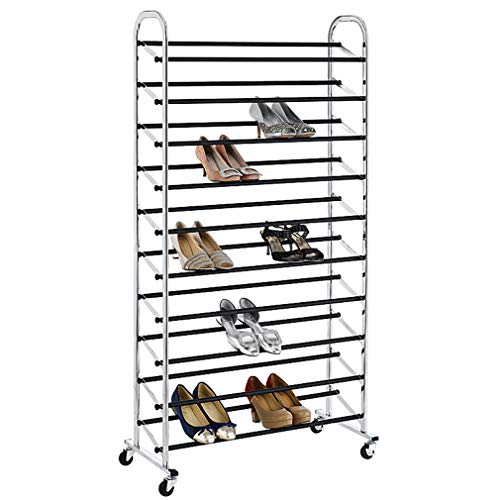 - Metal ShoeRack Organizer 10 Tier Shoe Organizer and Storage Large Shoe Storage Rack 50 Pair Utility Rolling Steel Storage Organizer Shoe Tower Stackable Cabinet with Locking Wheels for Entryway,Chrome