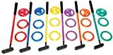 Champion Sports Mini Golf Clubs: Multi Colored Putt Putt Miniature Golfing Set For Kids - 6 Putters 18 Holes & 18 Balls