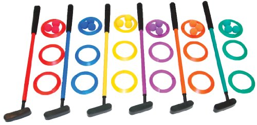 Champion Sports Mini Golf Clubs: Multi Colored Putt Putt Miniature Golfing Set For Kids - 6 Putters 18 Holes & 18 - Kids Green Golf Club