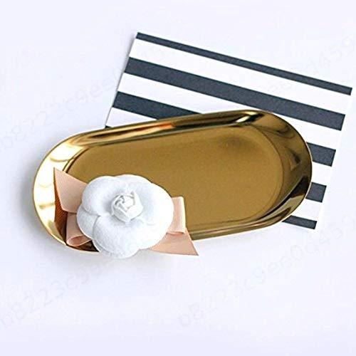 LAQI Vassoio portavivande in Metallo punteggiato Ovale Portaoggetti in Metallo Piccoli Oggetti Vassoio per Gioielli Specchio Dorato