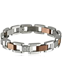 Cold Steel Men's Stainless Steel and Diamond Link Bracelet (1/2cttw, H-I Color, I2-I3 Clarity), 7.5""