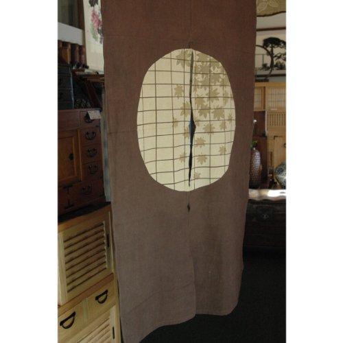 Japanese Shoji Doors - Japanese Noren, WX340, maple leave, shoji window on brown, cotton, door way curtain