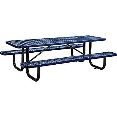 "8' Rectangular Picnic Table, Surface Mount, Blue (96"" Long)"