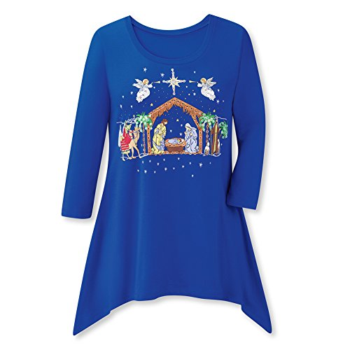Collections Etc Christmas Shirt w/Nativity Scene & Sharkbite Hemline