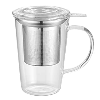Enindel Glass Tea Mug with Infuser and Lid, Tea Cup, Clear, 14 OZ, GM001