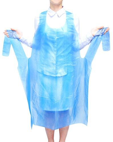100 Pack Blue PE Aprons 28 x 46 inches. 2 Mil Disposable Polyethylene Aprons. Unisex Waterproof Workwear. Blue Protective Uniform Aprons for Men, Women. Lightweight, Breathable. Wholesale Price. ()