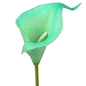 AerWo 10 Stem Calla Lily Flower Bouquet Real Touch Decorative Artificial Flower Wedding Party Festival Decor (Mint Green) 2