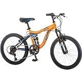 20' Mongoose Ledge 2.1 Boys' Mountain Bike with aluminum suspension frame and alloy rim, Orange/Blue