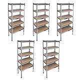Storage Rack Garage Storage Shelf 5 pcs Storage Rack Shelf Corrosion Resistant for Long Term Service Life