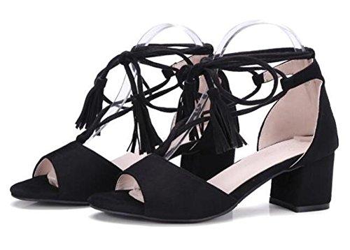 Easemax Womens Stylish Faux Suede Fringes Peep Toe Medium Block Heels Self Tie Gladiator Sandals Black 7WbTwjy