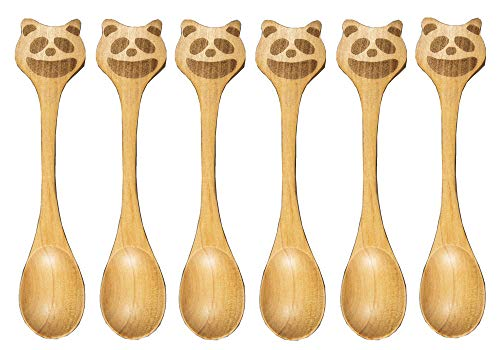 Set of 6pcs Wooden Baby Spoons Toddler Utensils-Natural Wood No Bleaches Or Dyes for Cold&Hot Food Cute Animal Flatware Set (NO Plastic Packing) (Lesser Panda) ()