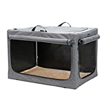 Petsfit 91.4 x 61 x 58.4 cm Travel Pet Home Indoor/Outdoor For Medium To Large Dog Steel Frame Home,Collapsible Soft Dog Crate(Gray)