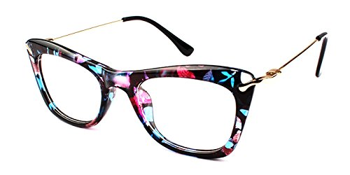 TIJN Cat Eye Eyeglasses Frames with Metal Arms for Women