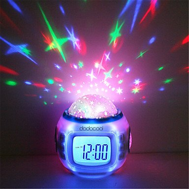 Amazon.com: qiuxi Creative childrens night light Music Starry Star Sky Digital Led Projection Projector Alarm Clock Calendar Thermometer horloge reloj ...