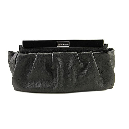 Emporio Armani Ostrich Leather Clutch Donna Nero