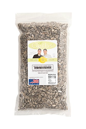 Extra Sea Salt Sunflower Seeds In Shell by Gerbs - 2 LB Deal - Top 10 Food Allergen Free & NON GMO - Vegan & Kosher - Seed Country of Origin USA - Premium Domestic Grade