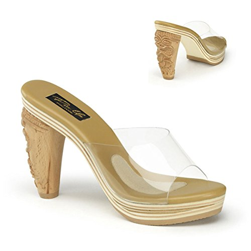 Pin Up Couture Women's 4 Inch Heel, 3/4 Inch Platform Slide With Carved Tiki (Lucite Slide)