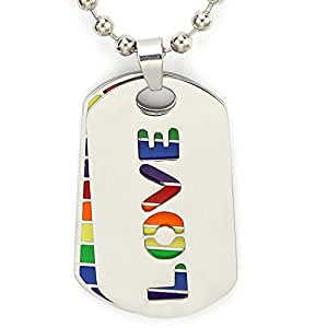 TTKP 2Pc. Love Rainbow Dog Tag Lgbt Gay And Lesbian Pride Necklace