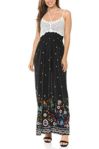 Auliné Collection Womens Crochet Lace Print Halter Strap Loose Long Maxi Dress - Abstract Gardens L/XL