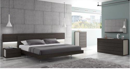 J&M Furniture 17867221-K Maia King Size Bedroom set - Light grey & Wenge